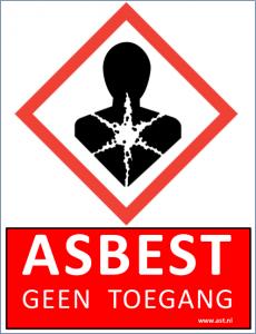 Kunststof bord ASBEST/GEEN TOEGANG